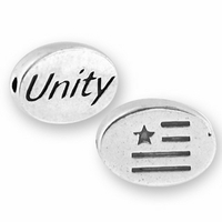 Unity with Flag Symbol Sterling Silver Message Bead