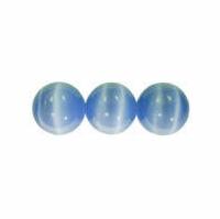 Lt. Blue 4mm Cats Eye Glass Beads 16 Inch Strand