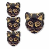 Black Cat Face 13mm (12PK)
