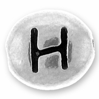 Silver/Rhodium Letter Bead  H