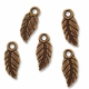 Antiqued Copper 16x7mm Leaf Charm (1PC)