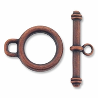 Antiqued Copper 18mm Round Toggle Clasps (5PK)
