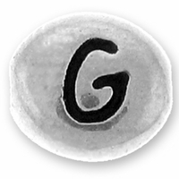 Silver/Rhodium Letter Bead  G