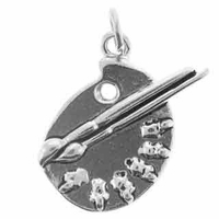 Artist Palette Sterling Silver Charm