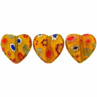 Yellow multi color Puffed Heart 12x12mm Millefiori Beads (1 Strand)