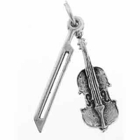 Violin & Bow Sterling Silver Charm