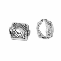 Diamond Block Sterling Silver Bead (1PC)
