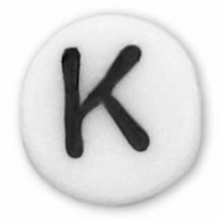 White Glass Czech Letter K (10PK)