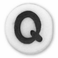White Glass Czech Letter Q (10PK)