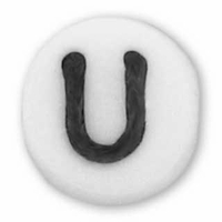 White Glass Czech Letter U (10PK)