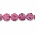 Pink Stripe 15mm Flat Round Shell Beads 16 Inch Strand
