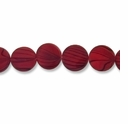 Red Stripe 15mm Flat Round Shell Beads 16 Inch Strand