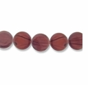 Brown Stripe 15mm Flat Round Shell Beads 16 Inch Strand