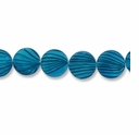 Blue Stripe 15mm Flat Round Shell Beads 16 Inch Strand