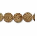Beige Stripe 20mm Flat Round Shell Beads 16 Inch Strand