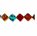 Mixed 25mm Flat Diagonal Square Shell Beads 15.5 Inch Strand