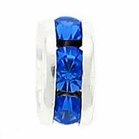 5mm Sapphire Crystal Rhinestone Silver Plated Rondelles (4PK)