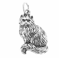 Long Hair Cat Sitting Sterling Silver Charm