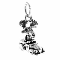 Moose in Car Sterling Silver Charm