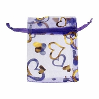 3x4 Inch Purple w/Gold Heart Print Organza Gift Bag