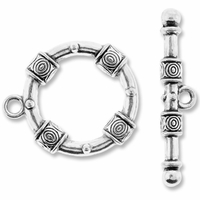 Antiqued Silver 29mm Large Bali Style Round Toggle Clasps (2 SETS)