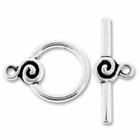 Antiqued Silver 21mm Spiral Circle Toggle Clasp (3 SETS)