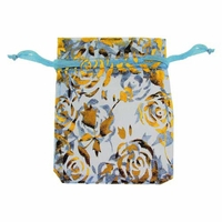 3x4 Inch Lt Blue Gold Flower Print Organza Gift Bag