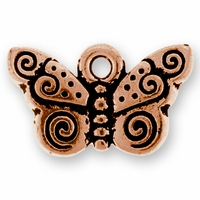 Antique Copper Spiral Butterfly Charm