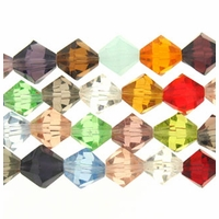 Chinese 8mm Assorted Crystal Bicones 16in Strand