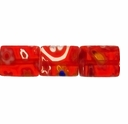 Glass Millefiori 10x8mm Red Flat Rectangular Beads 16-Inch Strand