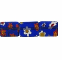 Glass Millefiori 10x8mm Navy Flat Rectangular Beads 16-Inch Strand