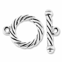 Antiqued Silver 25mm Large Twisted Round Toggle Clasps (2 SETS)