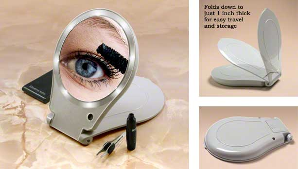 Floxite 10x Lighted Mirror Folds Flat For Easy Travel And Storage