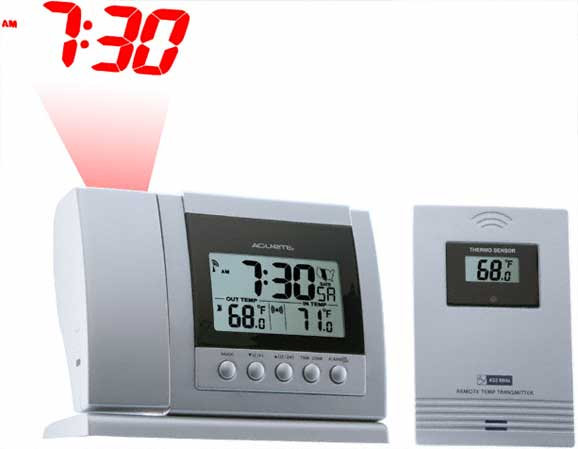 Projection Alarm Clock Displays The Time And Indoor/Outdoor Temperature On  The Ceiling Above Your Bed.