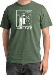 Game Over Ceremony Pigment Dyed Olive T-shirt - White Print