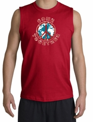COME TOGETHER World Peace Sign Symbol Adult Muscle Shirt Shooter - Red