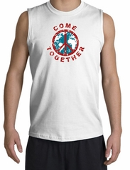 Peace Sign Shirt Come Together Muscle Shirt White