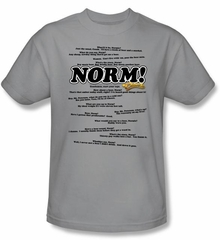 Cheers Norm T-shirt - Normisms Adult Silver Tee Shirt