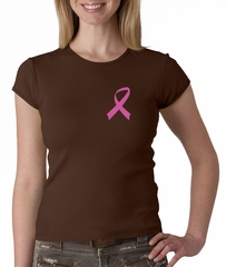 Breast Cancer Ladies Shirt Crewneck Pink Ribbon Pocket Print Brown