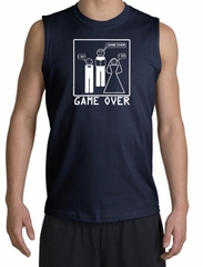 Game Over Marriage Ceremony Shooter Navy Muscle Shirt - White Print