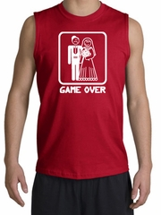 Game Over Muscle Shirt Funny Marriage Red Shooter - White Print