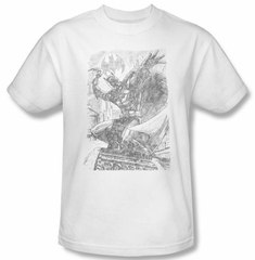 Batman T-Shirt - Pencil Batarang Throw Adult White Tee