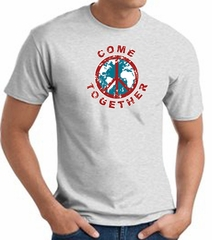 COME TOGETHER World Peace Sign Symbol Adult T-shirt - Ash