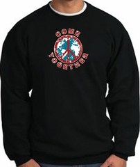 COME TOGETHER World Peace Sign Symbol Adult Sweatshirt - Black