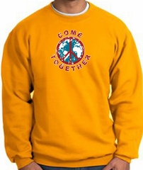 COME TOGETHER World Peace Sign Symbol Adult Sweatshirt - Gold