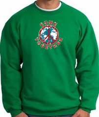 COME TOGETHER World Peace Sign Symbol Adult Sweatshirt - Kelly Green