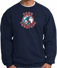 COME TOGETHER World Peace Sign Symbol Adult Sweatshirt - Navy