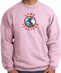COME TOGETHER World Peace Sign Symbol Adult Sweatshirt - Pink