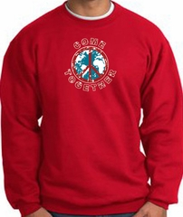 COME TOGETHER World Peace Sign Symbol Adult Sweatshirt - Red