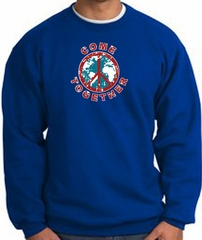 COME TOGETHER World Peace Sign Symbol Adult Sweatshirt - Royal